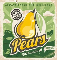 Retro pear poster vector