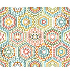 Embroidery seamless hexagons pattern vector