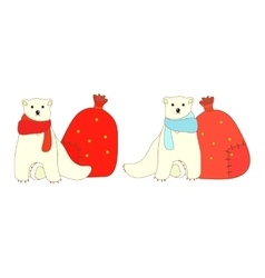 Isolated polar bears vector image
