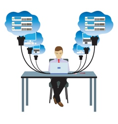 Network cloud technology vector
