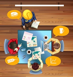 People working and meeting at the table vector
