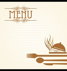 Template for menu card with cutler vector