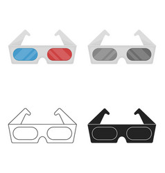 Anaglyph 3d glasses icon in cartoon style isolated vector