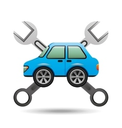 Blue car icon tool support graphic vector