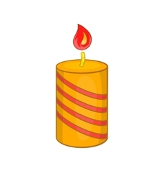 Burning candle icon cartoon style vector