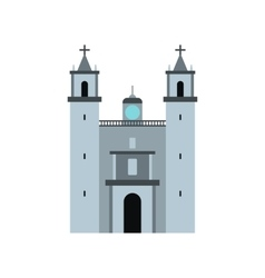 Cathedral in valladolid mexico icon flat style vector