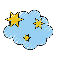Cloud with stars weather icon vector