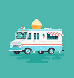 colorful flat ice cream truck cartoon vector image