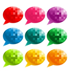 Colorful pixel speech bubbles vector
