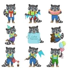 Cute Boy Raccoon Cartoon Set vector image