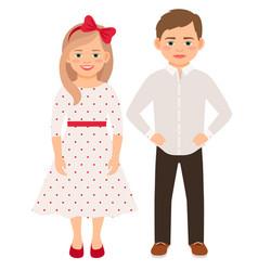 cute cartoon fashion kids couple vector image vector image