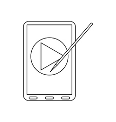 Digital tablet with a stylus icon outline style vector