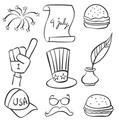 Doodle of hand draw memorial collection vector