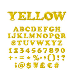 english alphabet and numerals from yellow vector image vector image
