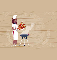 Female african american chef cook holding kebab vector