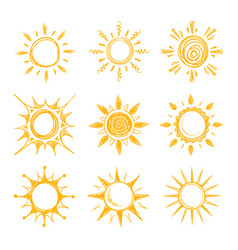 Funny doodle summer smile orange sun icons vector