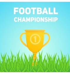 Golden trophy cup on field grass vector