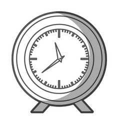 Grayscale silhouette of desk clock with thick vector