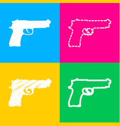 Gun sign four styles of icon on four vector