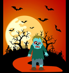 halloween background with zombie and full moon vector image vector image