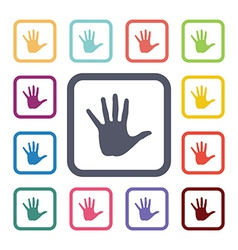 hand flat icons set vector image