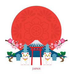 Japan landmarks with decoration background vector