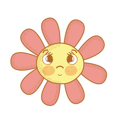 Kawaii flower surprised face and eyes vector