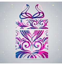 Ornament Christmas gift box vector image vector image