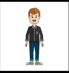 People man with casual cloth with mustache avatar vector
