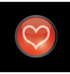 Red round heart button vector