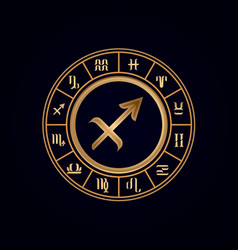 sagittarius luxury 12 zodiac wheel cycle vector image