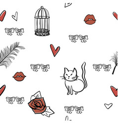 seamless romantic elements pattern vector image vector image