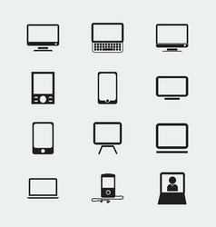 Set of 12 editable devices icons includes symbols vector