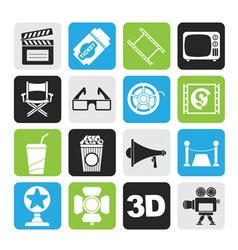 Silhouette Cinema and Movie icons vector image vector image