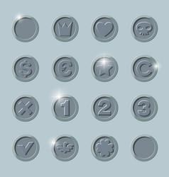 silver coins set vector image vector image