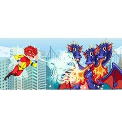 Superhero fighting three headed dragon in city vector