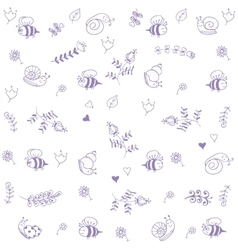 Sweet babies doodle bee and snail vector