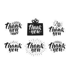 thank you label set handwritten beautiful vector image