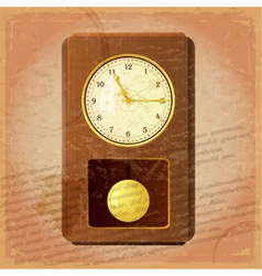 Vintage clock on a grungy background vector image vector image