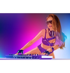 Young sexy woman dj vector image