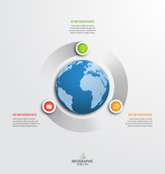 Circle infographic template with globe 3 options vector