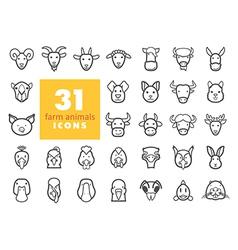 Farm animals outline icons set head vector image