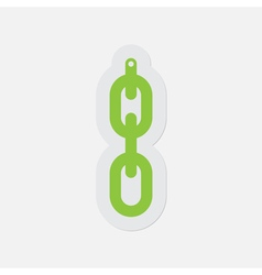 Simple green icon - hanging chain with hole vector