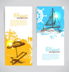 Banners of travel colorful tropical design vector