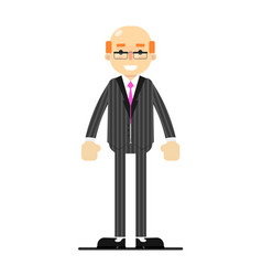 Adult bald man in business suit and tie vector
