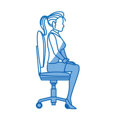 Business woman sitting office chair working vector