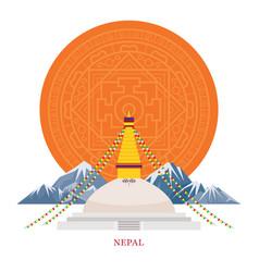 nepal landmarks with decoration background vector image