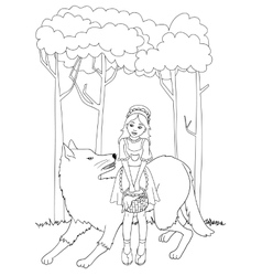 Little red riding hood with wolf outline vector