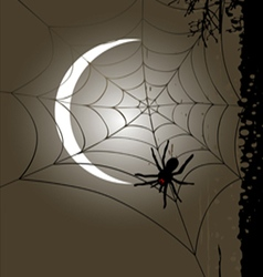Halloween vertical banner full moon and cobweb vector