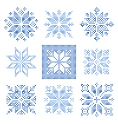 Cross stitch snowflakes pattern scandinavian vector